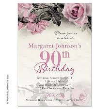 vintage rose illustration 90th birthday invitations pink