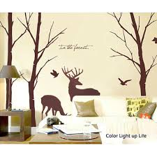 50 brown birch trees decal with birds deer wall sticker quote lovely deer forest vinyl wall sticker wall decal tree decals wall murals art nursery wall decals animal nature fall birds on etsy