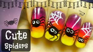 halloween cute spiders easy freehand nail art tutorial youtube