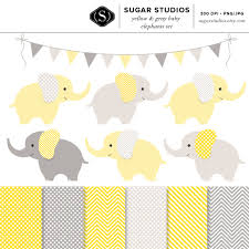 yellow and gray baby elephants 13 piece digital clip art and