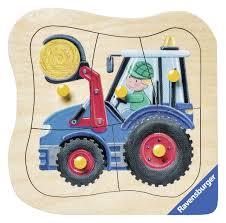 tracteur en bois puzzle encastrement en bois tracteur ravensburger 03229 5 pièces