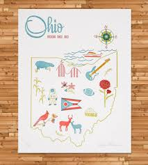 Ohio Map by Vintage Inspired Ohio Map Print Art Prints U0026 Posters Paper