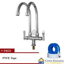 Aleno AK Pillar Mounted Double T End   AM - Kitchen sink pillar taps