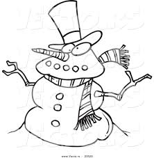 vector of a cartoon snowman coloring page outline by toonaday