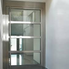 Steel Exterior Doors With Glass Fully Chromed Steel Entry Doors With Clear Glass Cover And Angled