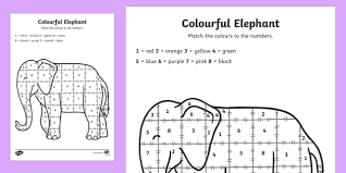 colour number sheet support teaching elmer elmer