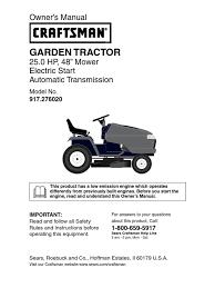 craftsman garden tractor 917 276020 owners manual tractor