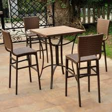 Patio Furniture Resin Wicker by Bar Height Bistro Dining Set Wood Table 4 Chairs Resin Wicker 5