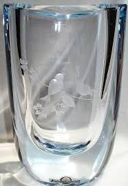 Engraved Glass Vases Rare Vintage Strombergshyttan Etched Bird Vase From