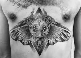 chest tattoo dragon tattoo demon devil moth symbol sigil magic alchemy lucifer