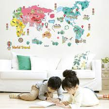 fun home decor fun world map kids wall sticker quotes vinyl wall stickers for kids