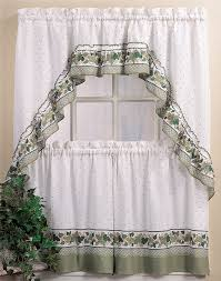 White Curtains With Green Leaves by Furniture Modern Cafe Curtains With Base Valance For Window