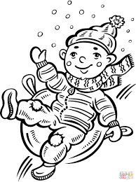child sliding down a snow covered hill coloring page free