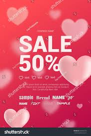 valentines sales bright sales flyer hearts valentines day stock vector 564563176