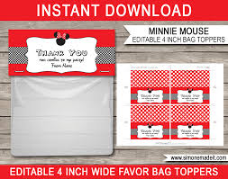 minnie mouse theme favor bag toppers minnie mouse party