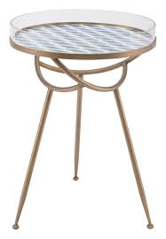 removable tray top table lattice round table in blue and gold with removable tray top