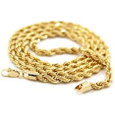 gold chain necklace rope images Mens 14k yellow gold plated 5mm metal rope chain necklace 24 jpg