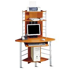 Corner Computer Desk Cherry Corner Tower Computer Desk Cherry And Silver Walmart