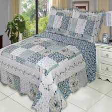 Country Quilts And Bedspreads Country Cottage Blue Floral Quilt Coverlet Shams Set Luxury