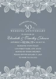 25th Anniversary Invitation Cards Luxury Lace 50th Wedding Anniversary Invitations Elegant Modern