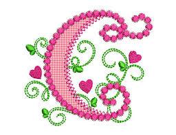 create monogram initials letter c alphabet for lil princess hearts applique