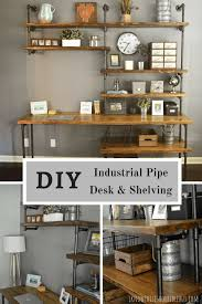 pipe desk with shelves diy rh industrial desk and shelving i know this is horrible but