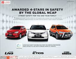 toyota international india u0027s toyota etios achieves 4 stars in global ncap crash test