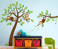 three monkeys up a tree wall decal wall sticker leafy dreams