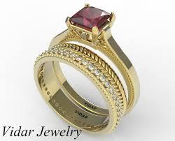ruby wedding rings princess cut ruby wedding ring set vidar jewelry unique custom