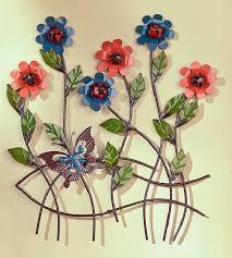 floral 3d butterfly flowers wall art metal garden sculpture indoor