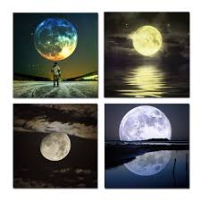 free shipping wall art full moon night sky landscape picture