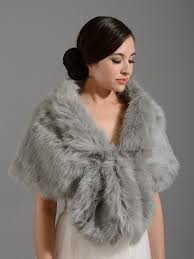 faux fur wrap a001 silver