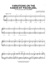 variations on the kanon by pachelbel sheet for piano and