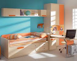 bedroom interactive kid blue and orange bedroom decoration using