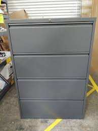 Steel Lateral File Cabinet Lateral File Cabinet 4 Drawers 36 Wide Charcoal Grey A M
