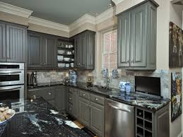 Black Kitchen Cabinets Images by Grey Kitchen Cabinets With Black Granite Countertops Monsterlune