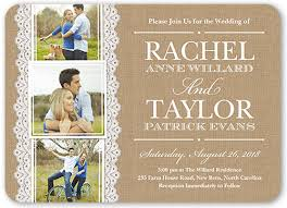 wedding invitations with photos burlap and lace 5x7 wedding invitations shutterfly