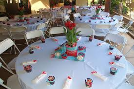 table settings at the baby shower we handmade the centerpieces
