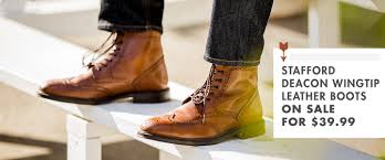 mens leather riding boots for sale stafford deacon wingtip leather boots on sale for 39 99 primer