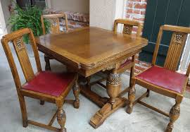 Draw Leaf Dining Table Set Antique Carved Tiger Oak Draw Leaf Dining Table W 4