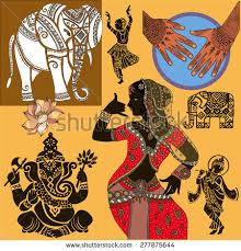 set ornamental indian elements symbolsganeshaindian stock