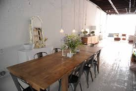 enchanting wooden oversized dining table with six piece white
