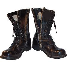 vintage motorcycle boots vintage military leather combat boots made in usa from