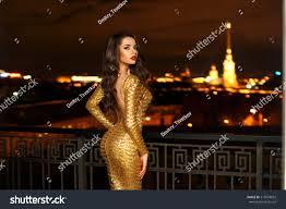 in long hair fashionable beautiful young woman long stock photo 515594692