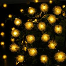 solar cotton ball light 50 led string lights chuzzle fairy lamp