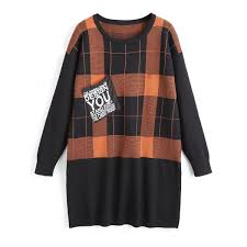 plaid sweater wholesale plus size plaid tunic sweater with pocket in sugar honey
