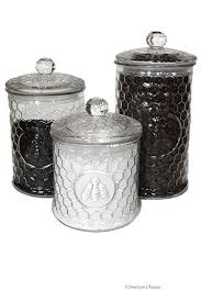 large kitchen canisters amazon com set 3 large glass embossed beehive bee kitchen