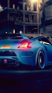 nissan sports car blue blue nissan 370z rear back view car wallpaper download 1080x1920