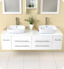 Fresca Bellezza FVNWH White Modern Double Vessel Sink - Bathroom vanity for vessel sink 2