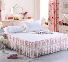 Skirted Coverlet New Brand Pink Flowers On Beige Floral Bed Skirt Cotton Chiffon